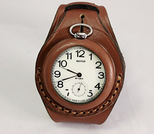 50mm Harness NEW hand-made Leather Brown Strap Band for Pocket Watch military style WW1 WW2 …
