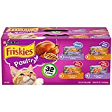 Purina Friskies Gravy Wet Cat Food Variety Pack, Poultry Shreds, Meaty Bits & Prime Filets - (32) 5.5 oz. Cans