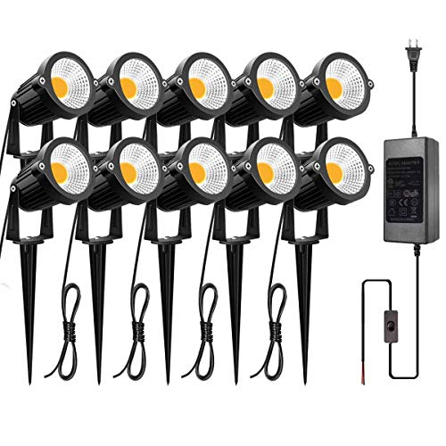 ZUCKEO 5W LED Landscape Lights with Transformer 12V 24V Waterproof Garden Pathway Lights Warm White Walls Trees Flags Outdoor Spotlights with Spike Stand (10 Pack with Transformer)