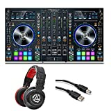 Denon DJ MC7000 4-Channel Serato DJ Controller/Digital Mixer with Dual USB + Red Wave Carbon Professional-Level DJ Headphones + High Speed USB Cable