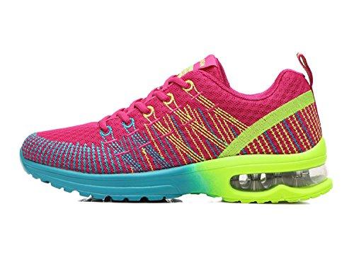 Zapatos de Running para Hombre Mujer Zapatillas Deportivo Outdoor Calzado Asfalto Sneakers Negro Rojo Gris 35-44 Rojo 41