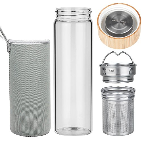 ORIGIN Best BPA-Free Fruit and Tea Infuser Borosilicate Glass Water Bottle with Neoprene Sleeve and Bamboo Lid, Double Mesh Filter, Travel Tumbler 20oz
