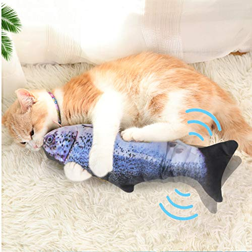 Senneny Electric Moving Fish Cat Toy, Realistic Plush Simulation Electric Wagging Fish Cat Toy Catnip Kicker Toys, Funny Interactive Pets Pillow Chew Bite Kick Supplies for Cat Kitten Kitty (Salmon)