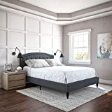 Classic Brands Wellesley Upholstered Platform Bed   Headboard and Metal Frame with Wood Slat Support, Queen, Grey