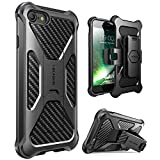 i-Blason Transformer Series Case Designed for iPhone 7/iPhone 8, [Kickstand] [Heavy Duty] [Dual Layer] Combo Holster Cover case with [Locking Belt Swivel Clip] (Black)