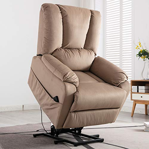 Bonzy Home Power Lift Recliner Chair - Fabric Electric Recliner with Remote Control - Bedroom & Living Room Chair Recliner Sofa for Elderly (Mocha D134)