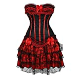 Women Halloween Costume Gothic Victorian Corsets Burlesque Dresses Moulin Rouge Red Small