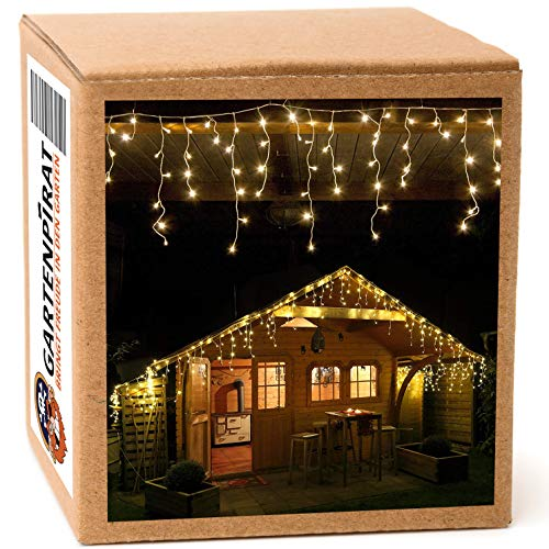 12 m Eisregen Lichterkette mit 480 LED warmweiß für aussen