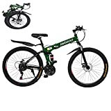 Astrong Outdoor Mens Mountain Bike-26in Stone 21 Speed Dual Disc Brakes Folding Mountain Bike, Full Suspension Non-Slip MTB Bikes for Adult Outdoor Cycling with Friends