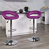 Flash Furniture Contemporary Purple Vinyl Rounded Orbit-Style Back Adjustable Height Barstool with Chrome Base