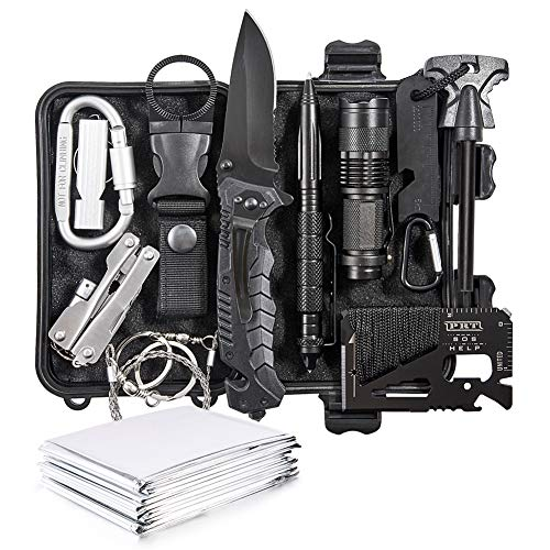 DLY Emergency Survival Kit 13 in 1 - Outdoor Survival Gear Tool for Wilderness/Trip/Cars/Hiking/Camping Gear - Emergency Blanket, Flashlight, ect (Emergency Survival Kit SET2)