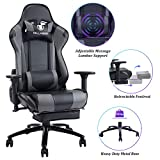 Blue Whale Massage Gaming Chair - Big and Tall 350lbs High Back Racing Computer Desk Office Chair Swivel Ergonomic Executive Leather Chair with Footrest and Adjustable Armrests, Gray/Black