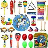MarkersHome 24 Pcs Juguetes Instrumentos Musicales uguetes Músicales de Percusion Bebes Instrumentos Musicales Infantil Juguetes de Educación Temprana con Mochila de Almacenamiento Regalos para niños