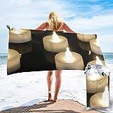 Lawenp Toalla de Playa de Secado rápido, Toallas de baño Ligeras de Microfibra con Estampado de Velas súper absorbentes para niños y Adultos de 31.5 'X63'