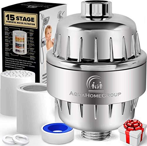 AquaHomeGroup Filtro de Agua para la Ducha de 15 Etapas con Vitamina C - Filtro para Ducha Alta...