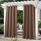 NICETOWN Outdoor Blackout Curtain for Patio Waterproof, Thermal Insulated Silver Rustproof Grommet Top Blackout Indoor Outdoor Divider Drape for Cabana, 1 Panel, W52 by L95, Tan