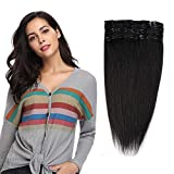 Clip in 100% Remy Human Hair Extensions 8'-24' Grade 7A Quality Full Head 8pcs 18clips Long Soft Silky Straight for Women Fashion 10' / 10 inch 70g, 1B Natural Black