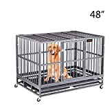 FURUISEN 48 Inch Heavy Duty Dog Crate, Strong Metal Military Pet Kennel Playpen Large Dogs Cage with Lockable Wheels & Two Prevent Escape Lock