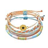 Tarsus Boho Cute Handmade Fun Flower Daisy Sunflower Bracelets for Women Stack 4 Bracelet Set