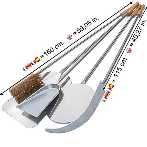 Set 5 pale per pizza in acciaio inox kit pale da forno (lunghezza totale 150 cm.) - Giemme Spoleto