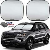 Autoamerics Windshield Sun Shade 2-Piece Foldable Car Front Window Sunshade for Most Sedans SUV Truck - Auto Sun Blocker Visor Protector Blocks Max UV Rays and Keeps Your Vehicle Cool (Universal Fit)
