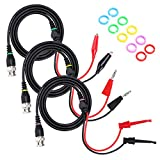 Sumnacon BNC Male Connector to Dual Stackable Banana Plug + Dual Alligator Clip + Minigrabber Test Leads, 300 V 50 Ohm BNC Oscilloscope Test Probe Cables With Marker Ring