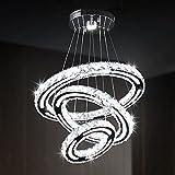 CXGLEAMING Modern Crystal Chandelier Lighting, DIY 3 Ring Pendant Chandelier Contemporary Acrylic Design Adjustable LED Ceiling Crystal Light Fixture for Bedroom Living Room Kitchen Dining Room
