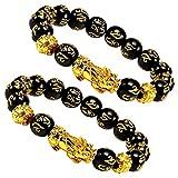 EnjoIt 2Pcs 12mm Hand Carved Mantra Stone Feng Shui Elastic Bracelet Pi Xiu Bracelet Wealth Bracelet for Mens Womens C2239
