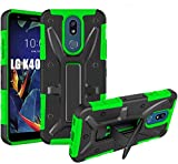 Compatible for LG K40 Case, LG Harmony 3 Case,LG Solo LTE Case, Dual Layer HNHYGETE Heavy Duty Non Slip {Shockproof} Bumper Rugged Support Protective Cover 5.7' (Green)