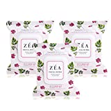 ZEA Facial Wipes Infused with Rose Hip Essential Oil-Alcohol and Paraben Free-30 Wipes Per Package, 3 Count