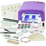 Kit de manucure + nail art professionnel complet - Lampe UV 36W Violette (4...