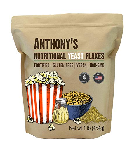 Anthony's Premium Nutritional Yeast Flakes, 1lb, Fortified, Gluten Free, Non GMO, Vegan