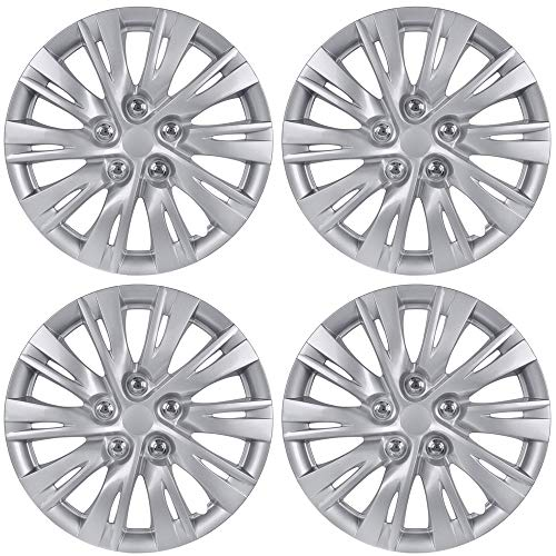 """BDK K1037 Silver Hub Caps (Wheel Covers) for Toyota Camry 2012-2013 16"""" – Four (4) Pieces Corrosion-Free & Sturdy – Full Heat & Impact Resistant Grade – OEM Replacement"""