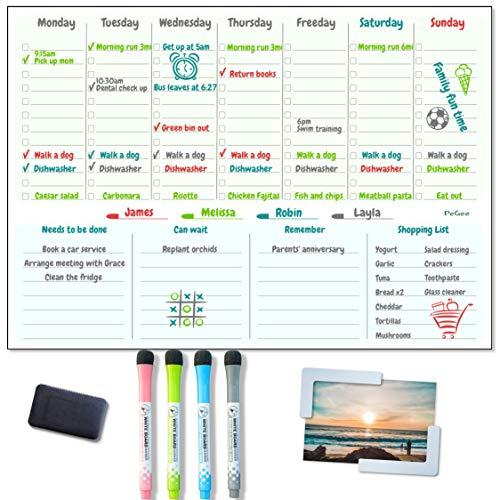 Pizarra magnética A3 grande con planificador semanal PeGee para nevera, útil como organizador familiar, planificador de comidas, tablero de notas, recordatorio diario, lista de compras.