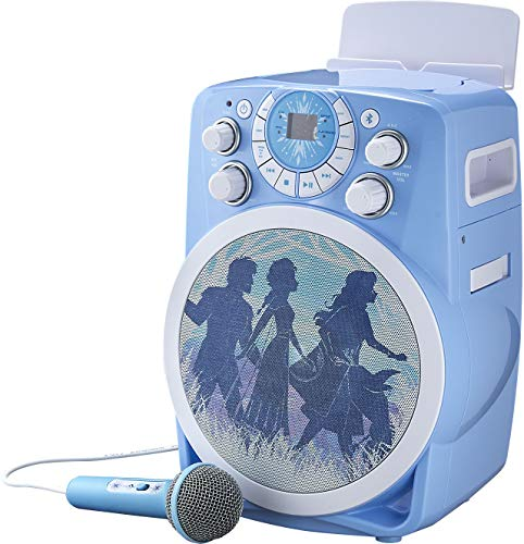 eKids Frozen 2 Bluetooth CDG Karaoke Machine with LED Disco Party Lights, Built in Microphone for Kids, Portable Bluetooth Speaker, Compatible with CDG Disks, MP3 & TV