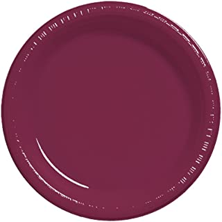 Creative Converting Touch of Color 20 Count Plastic Lunch Plates, Burgundy –