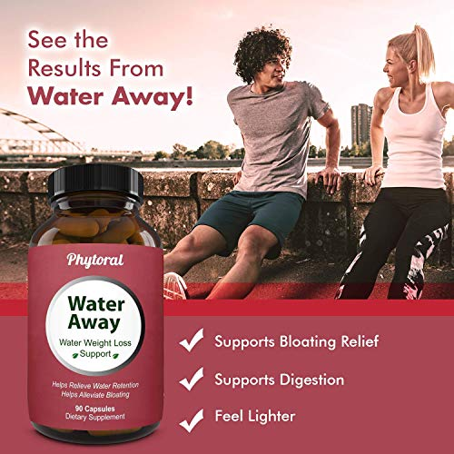 Water Away Diuretic Pills - Natural Water Weight Loss Support for Men and Women Fast Acting Bloating Swelling Relief Supplement - Pure Vitamin B6 Dandelion Green Tea Extract 90 Capsules by Phytoral 9