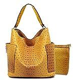 Handbag Republic Ostrich Embossed Hobo w/Side Pockets + Inner Bag Crossbody (Mustard)