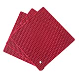 Silicone Pot Mat Honeycomb Square Heat Resistant Potholders Non Slip Trivets Pad for Cooking Spoon Rest Pots Pans counter Dish (3 pcs, Red)