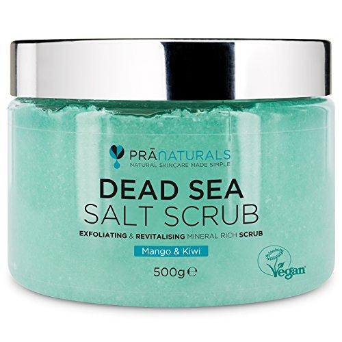 PraNaturals Gommage revitalisant au sel de la Mer Morte 500g - Gommage nourrissant au sel 100% biologique - Riche en minéraux naturels - Mélangé avec des huiles de mangue et de kiwi