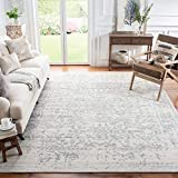 Safavieh Madison Collection MAD603G Snowflake Medallion Distressed Area Rug, 8' x 10', Silver/Ivory