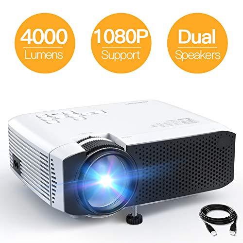 Proiettore APEMAN 4000 Lumen Mini Videoproiettore Portatile Compatibile 1080P Dppio Altoparlante 50000 Ore LED [Aggiornato] Cinema Domestico HDMI/USB/VGA/Micro SD Supporto Android IOS TV Box