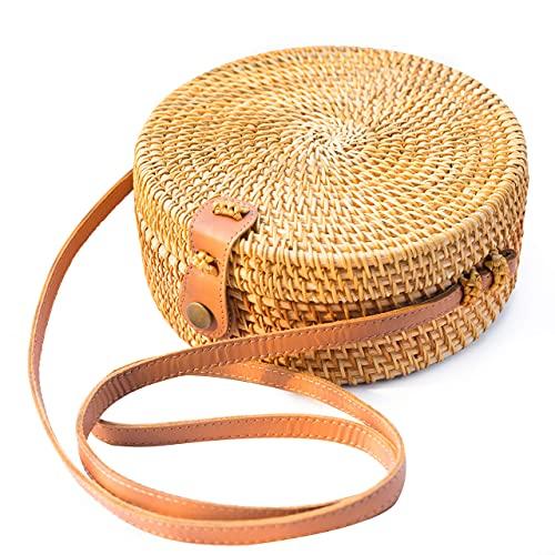 Handwoven Round Rattan Bag Shoulder Leather Straps...
