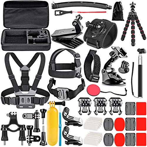 Neewer 50-in-1 Kit Aggiornato di Accessori per Action Cam Compatibile con GoPro Hero 9 8 Max 7 6 5 4 Black GoPro 2018 Session Fusion Silver White Insta360 DJI AKASO APEMAN Campark SJCAM ecc.