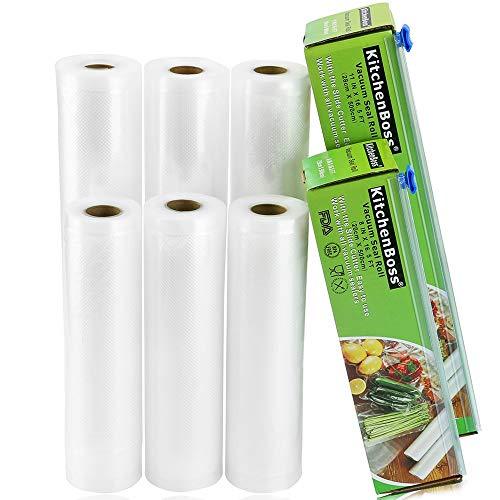 KitchenBoss Sottovuoto Sacchetti Alimenti,6 pezzi da 20x500cm e 28 * 500cm Sacchetti per Sottovuoto con Scatola Fresa(Non più forbici) per la Conservazione Sottovuoto Alimenti