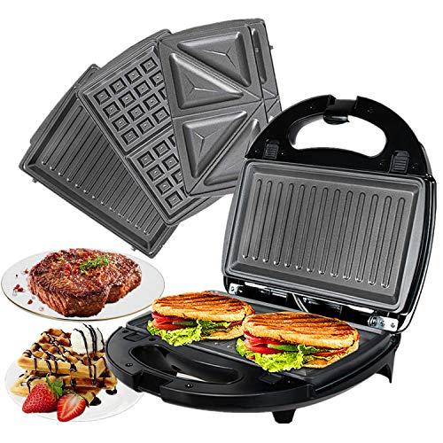OZAVO Sandwichmaker 3 in 1, Waffeln, Paninitoaster, 3 abnehmbare Grillplatten, Tisch-Grill für Toast, Waffeln, Fleisch, Schwarz, 750W