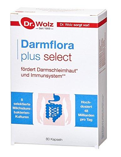 Darmflora plus select Dr. Wolz | hochdosierte Bakterienkulturen 48 Mrd/Tag | Vitamin B6 und B12, unterstützt gesunde Schleimhäute | 8 Milchsäurebakterien | Vegan | 80 Kapseln