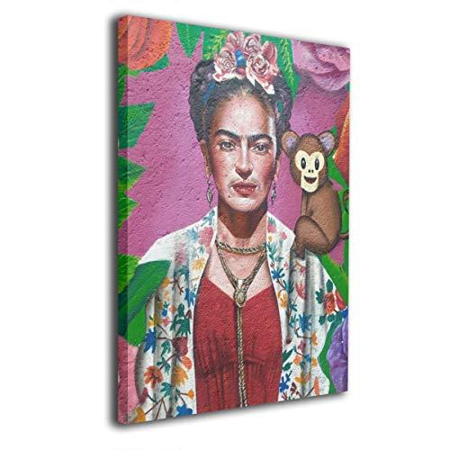 Pintura C Frida Kahlo Mexicana Folk Arte De Pared Arte De Impresión Sin Marco Listo para Colgar para decoración del hogar 16 x 20 Pulgadas, Madera, Blanco, Talla única