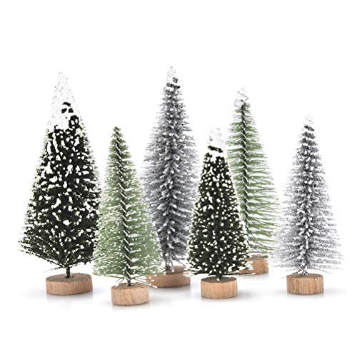 JUNKE 18 PCS Miniature Christmas Tree Small Artificial Miniatures Sisal Snow Frost Trees, Diorama Models, Micro Scenery Landscape Architecture Trees for Christmas Crafts Tabletop Decor