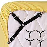 Wommty 4 Pièces Réglable Drap de Lit Attaches Triangle élastique Bretelles Gripper Support Clip de Sangles...